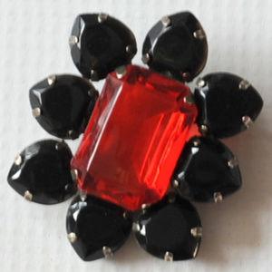 vintage juliana rhinestone black red brooch pin